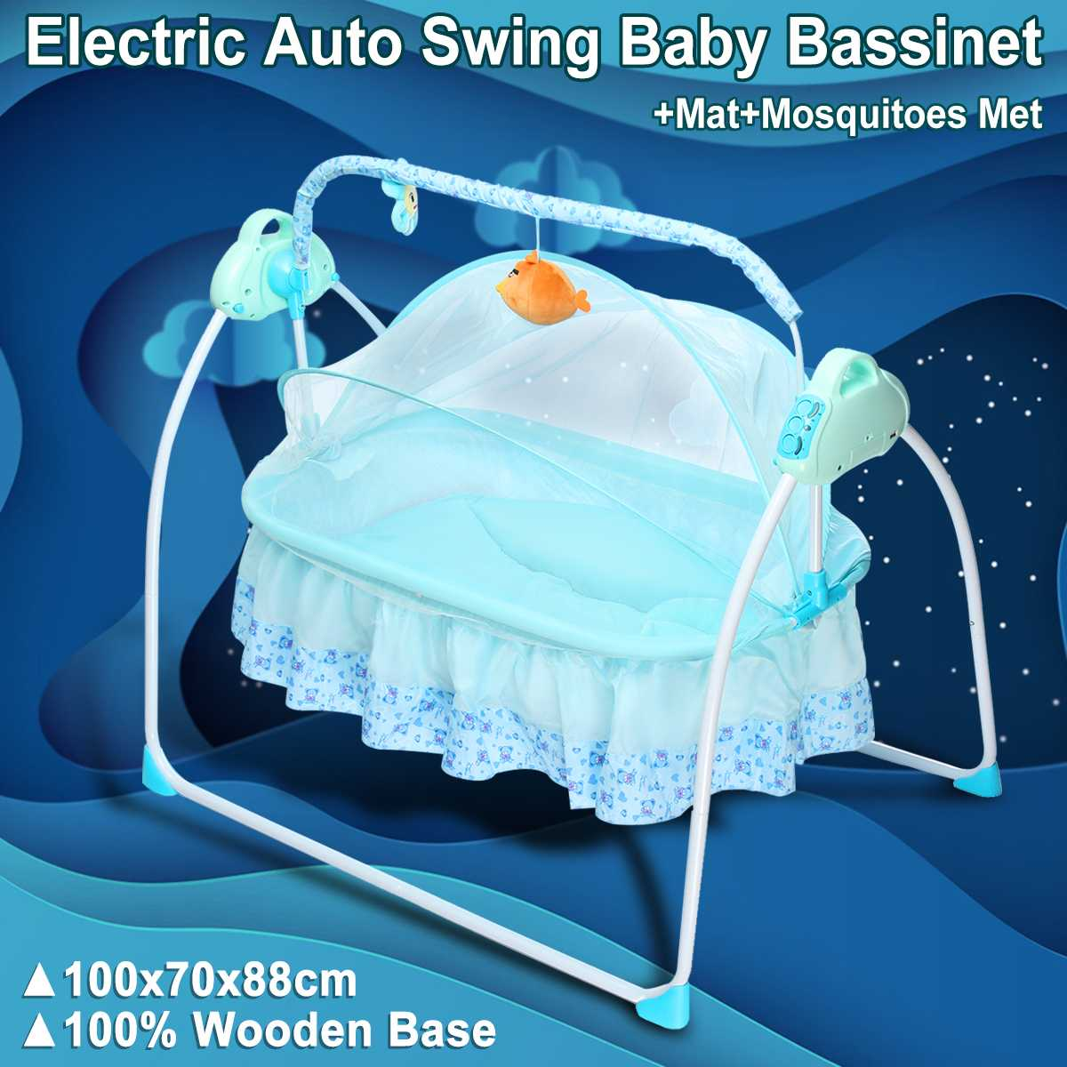 Electric Big Space Baby Crib Cradle Infant Rocker Auto-Swing Sleep Bed Baby 5.5V