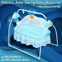 Electric Big Space Baby Crib Cradle Infant Rocker Auto Swing Sleep Bed Baby 5.5V