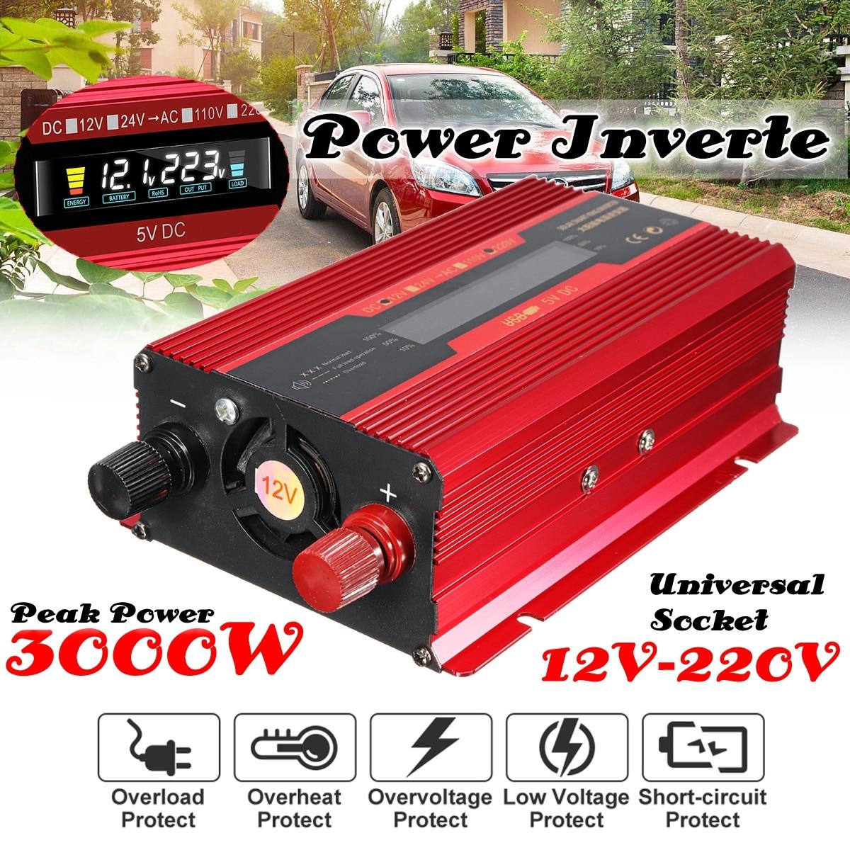 цена на Car Inverter 12V/24V 220V 3000W P eak Power Inverter Voltage Convertor Transformer DC 12V/24V To AC 220V Inversor LCD Display