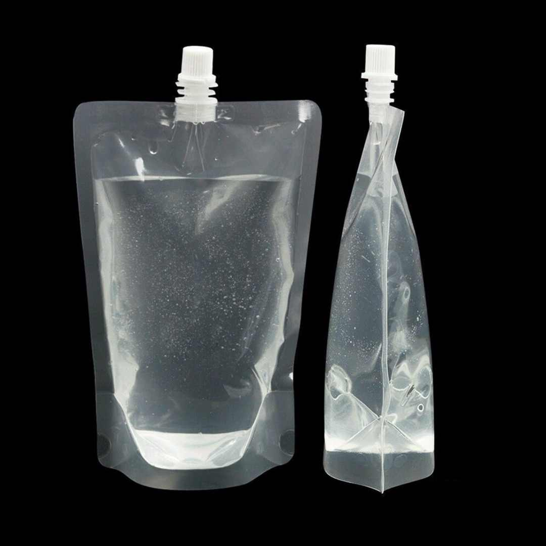 5pcs/set 500ml Stand-up Clear Plastic Beverage Bag Spouted Liquid Drinks Bag Pouch for Beverage Liquid Juice Milk Coffee