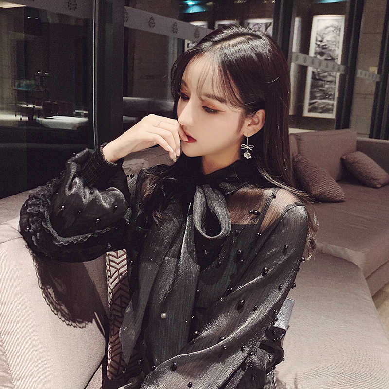 Twotwinstyle beading retalhos chiffon camisas blusa feminina bowknot rendas até lanterna de manga longa topos feminino elegante moda 2019