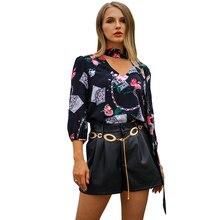 5f966c9d9e38d5 Women Vintage Blouse Chain Floral Print V Neck Choker 3 4 Sleeve Loose Shirt  Tops
