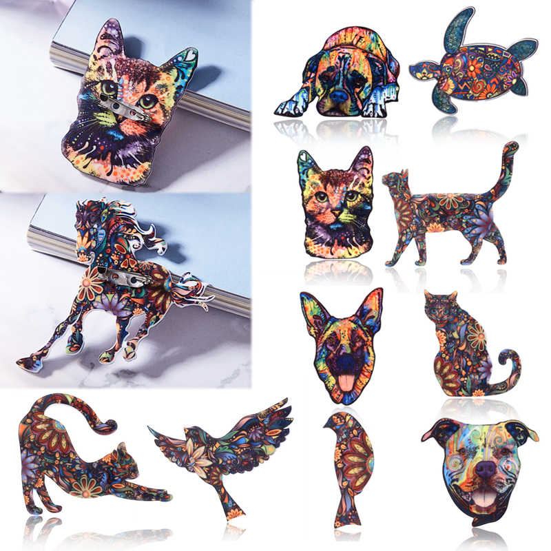 Sale New Acrylic Dog Cat brooch For Women Vintage Animal pin fashion retro Floral print Men brooch Clothing accessories