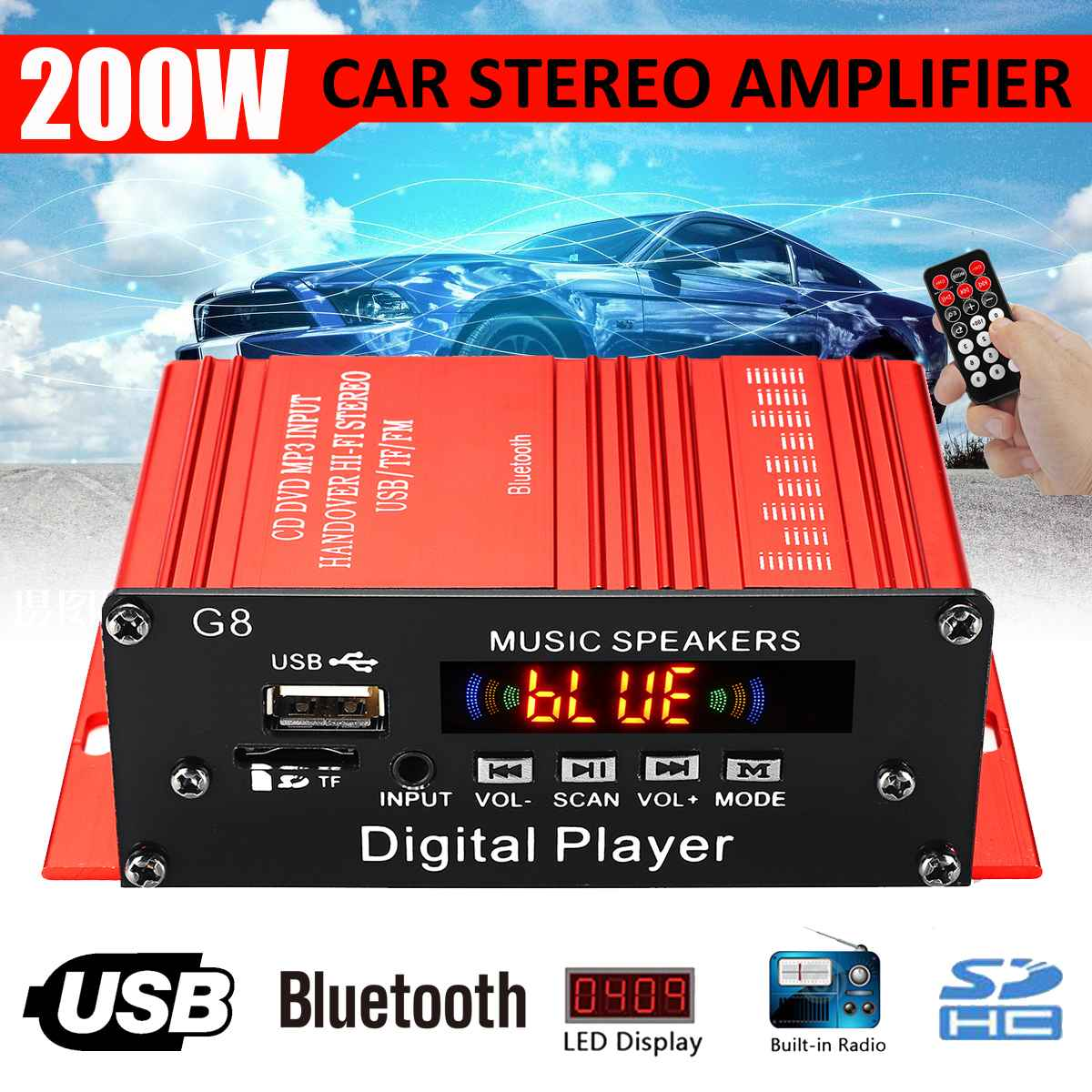 100W 100W 12V 2CH font b Car b font Audio Amplificador HIFI Audio Power Amplifier bluetooth