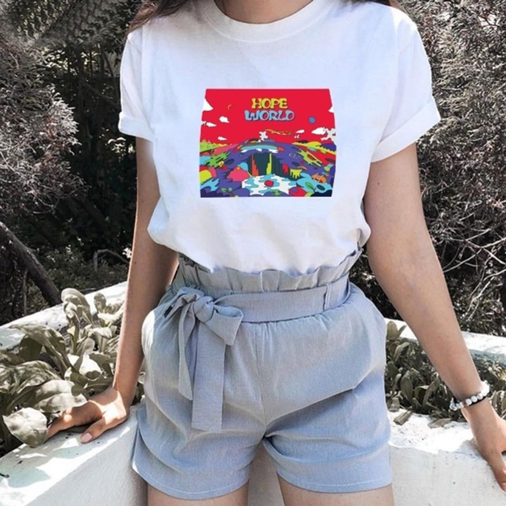 Hope World Graphic   Shirt   Summer Fashion Women Casual   T  -  Shirt   Funny Hipster Short Sleeves Fans   T  -  Shirt