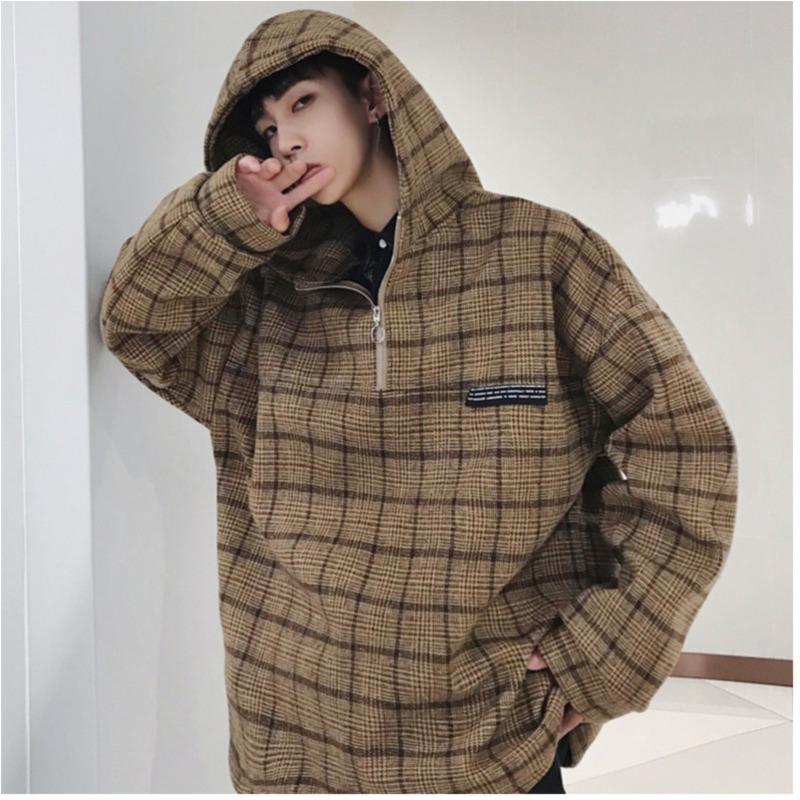 Winter New Hoodie Men Fashion Plaid Pullover Man Casual Loose Streetwear Hip Hop Long-sleeved Hooded Sweatshirt Male Clothes