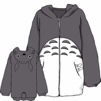 Anime My Neighbor Totoro Cosplay Hoodie Fleece Gray Sweatshirts With Ears Autumn Winter Men Women Plush Kawaii Coat Jacket