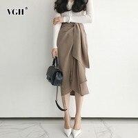 VGH Spring Women's Skirt Vintage High Waist Asymmetric Hem Female Mid calf Female Skirts 2019 Fashion New Tide