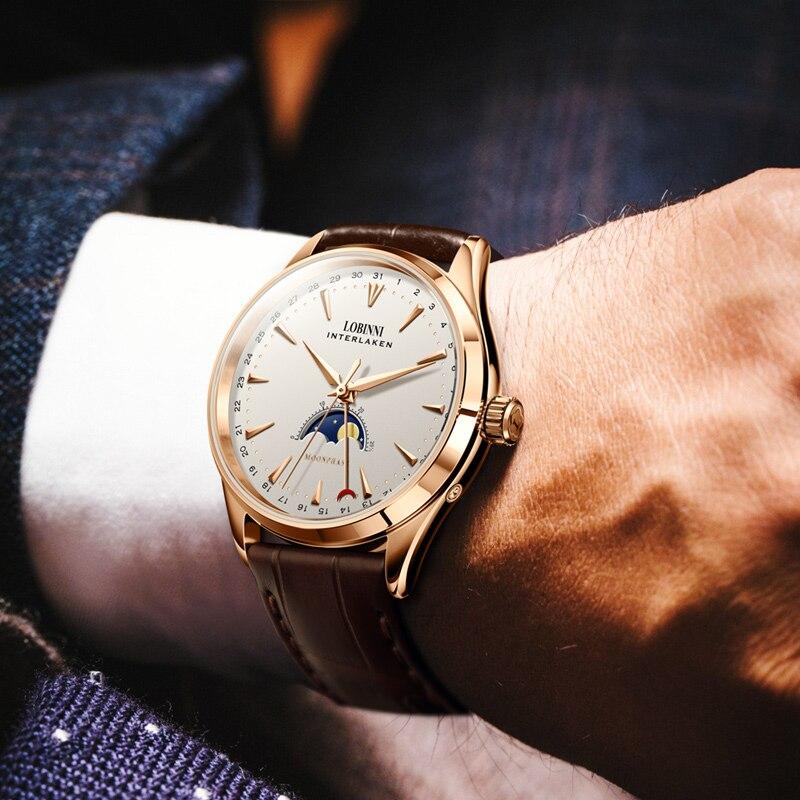 LOBINNI szwajcaria mężczyźni zegarki luksusowe marki fazy księżyca Auto mechaniczne mężczyzna zegar Sapphire skórzany relogio masculino L16012 1 w Zegarki mechaniczne od Zegarki na  Grupa 3