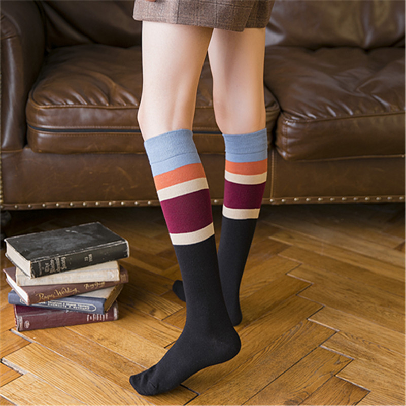 2019 Spring Knee   Socks   Women Cotton Thigh High Knee Stockings for Ladies Girls Casual Striped Long Stocking Funny Sexy Medias