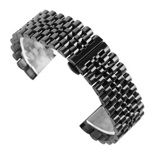 Image 4 - 22mm Silver/Black Stainless Steel Watch Band Folding Clasp with Safety Solid Watches Strap for Men Watch Replacement Bracelet