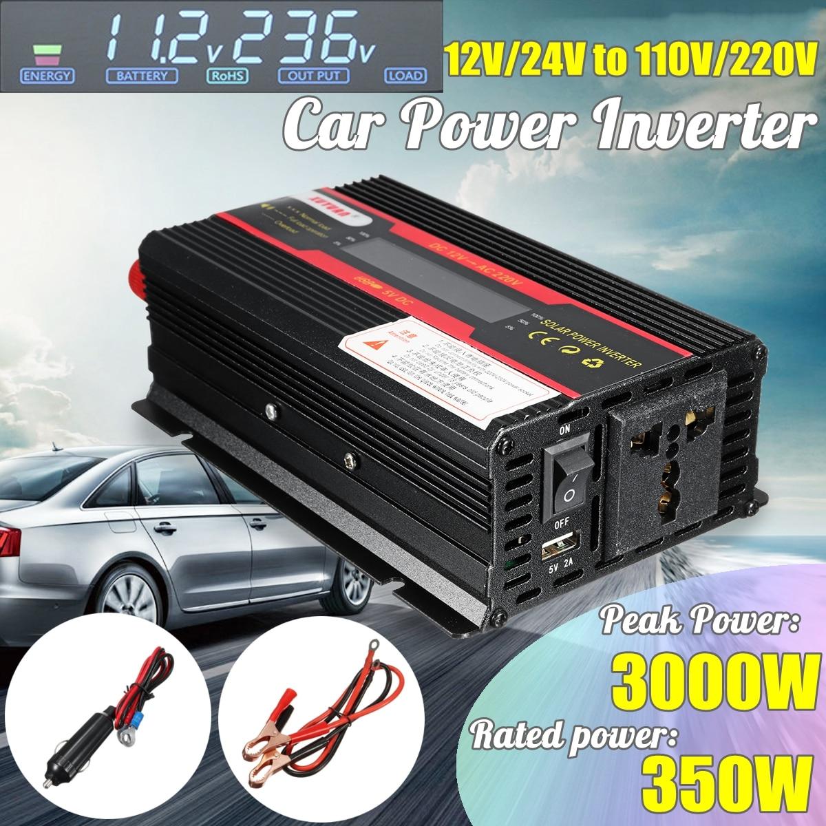 Car Inverter 12V 220V 3000W P eak Power Inverter Voltage Convertor Transformer DC 12V/24V To AC 220V/110V Solar Inversor LCD 1pcs lot sh b17 50w 220v to 110v 110v to 220v