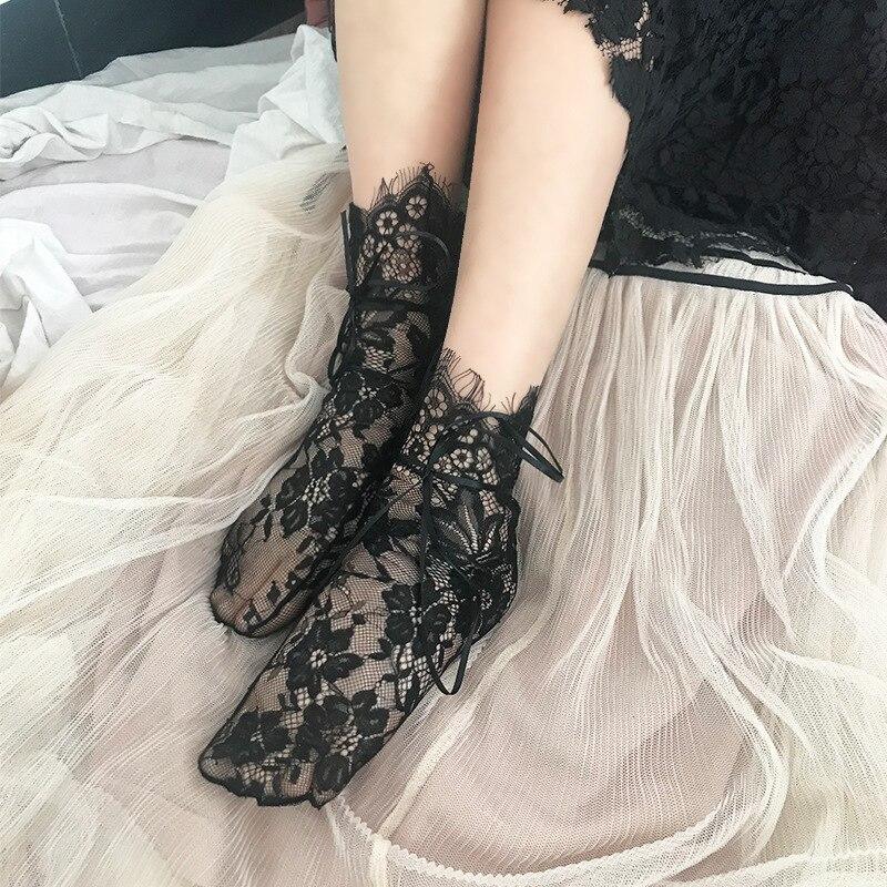 Women's Lace Silk Bubble Ribbon Socks Ladies Transparent Floral Lace Socks Mesh Bow Fishnet Socks Hosiery