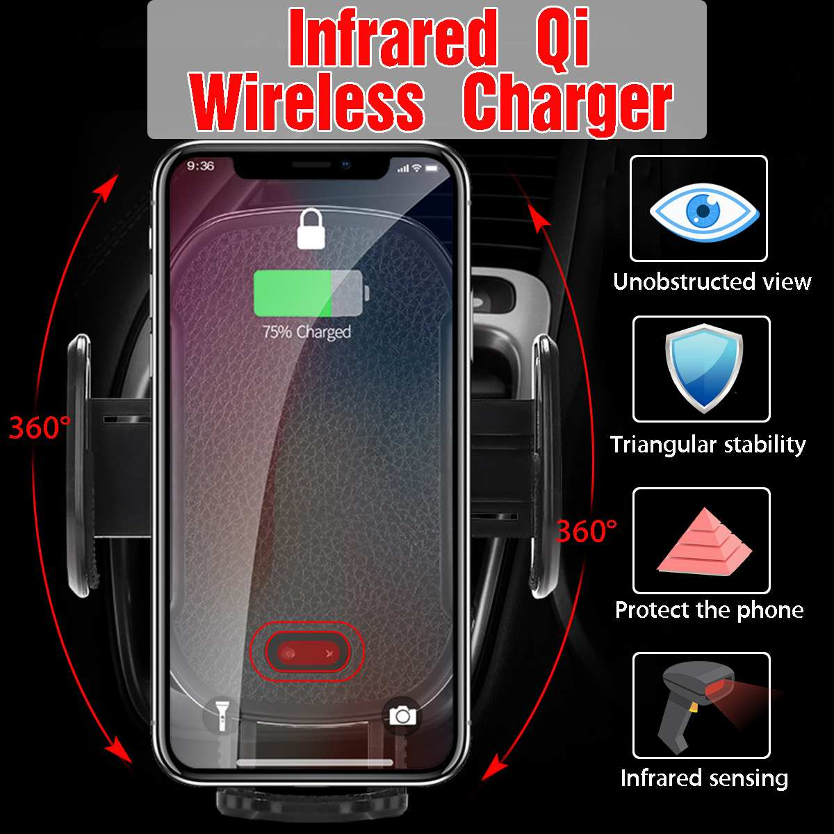 Automatic Infrared Sensor Car Phone Stand Holder QI Fast Wireless Charger For iphone XR XS MAX X 8 Plus For Samsung S8 S9 Note 9