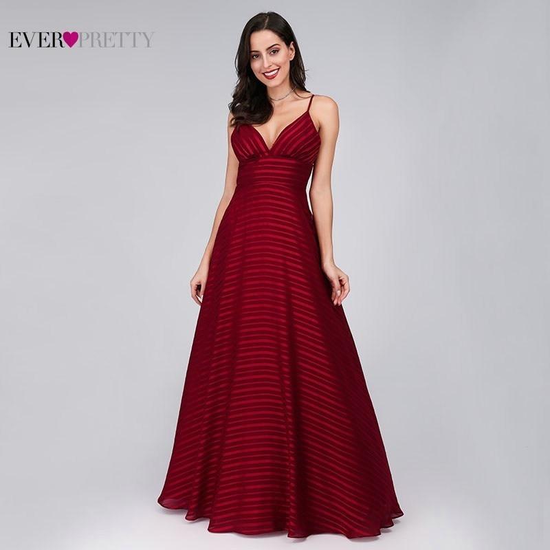 New Arrival Burgundy Evening Dresses Long Ever Pretty EP07857BD A Line V Neck Sleeveless Spaghetti Strap