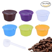 7Pcs Set Pack Plastic Coffee Filter Capsule Refillable Reusable Compatible For Nescafe Dolce Gusto Espresso Spoons