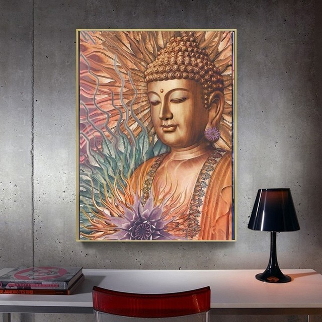 Huacan Diamond Painting Full Square Rhinestone Diamond Embroidery Cross Stitch Buddha 5D DIY Mosaic Gift Home