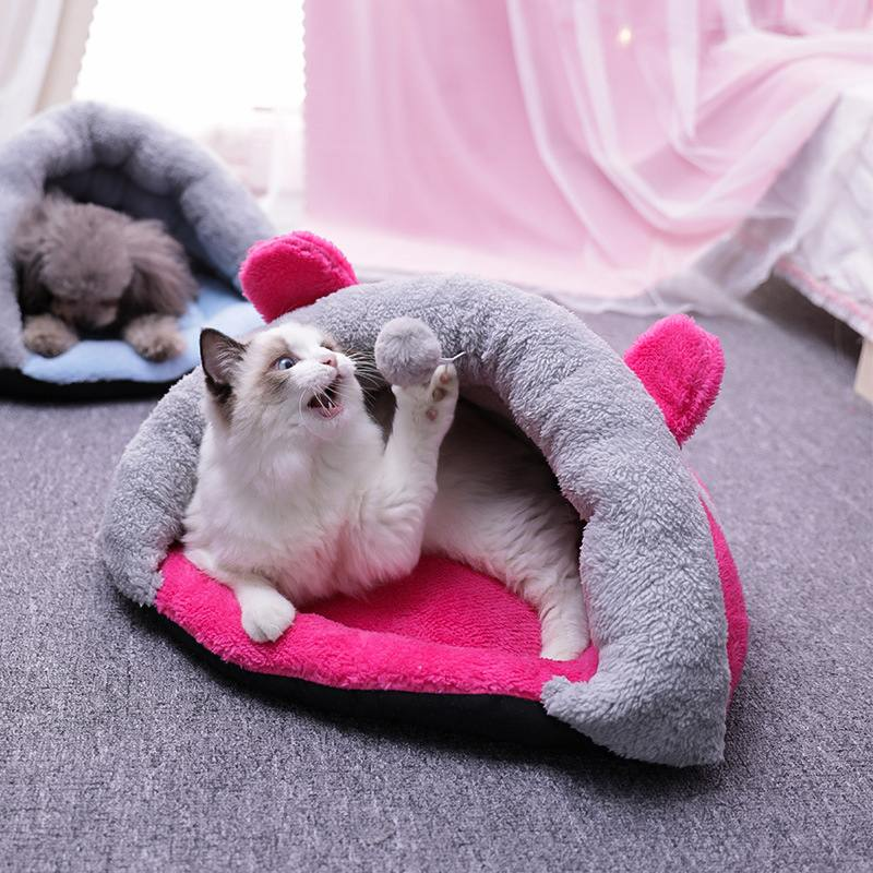 Cartoon Short Plush Pet Cat Bed Mat Dog Puppy Kennel Cat Sleeping Bag Nest Bed Cushion with Ball Toy Cat Accessories 3 Colors