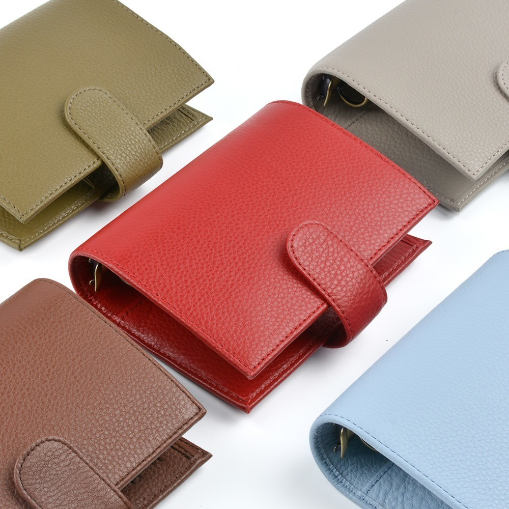 New Arrivals Genuine Leather Rings Notebook A7 Size Brass