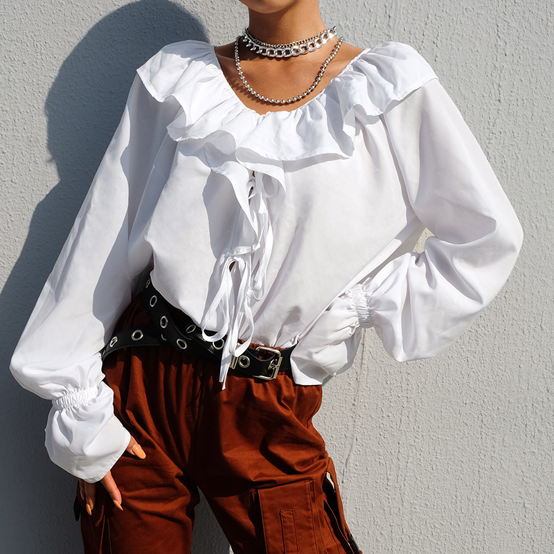 Women Ruffles Butterfly Sleeve White Blouse Women Long Sleeve Elegant Shirts Women Casual Loose Lace Up Blouses Summer Fashion