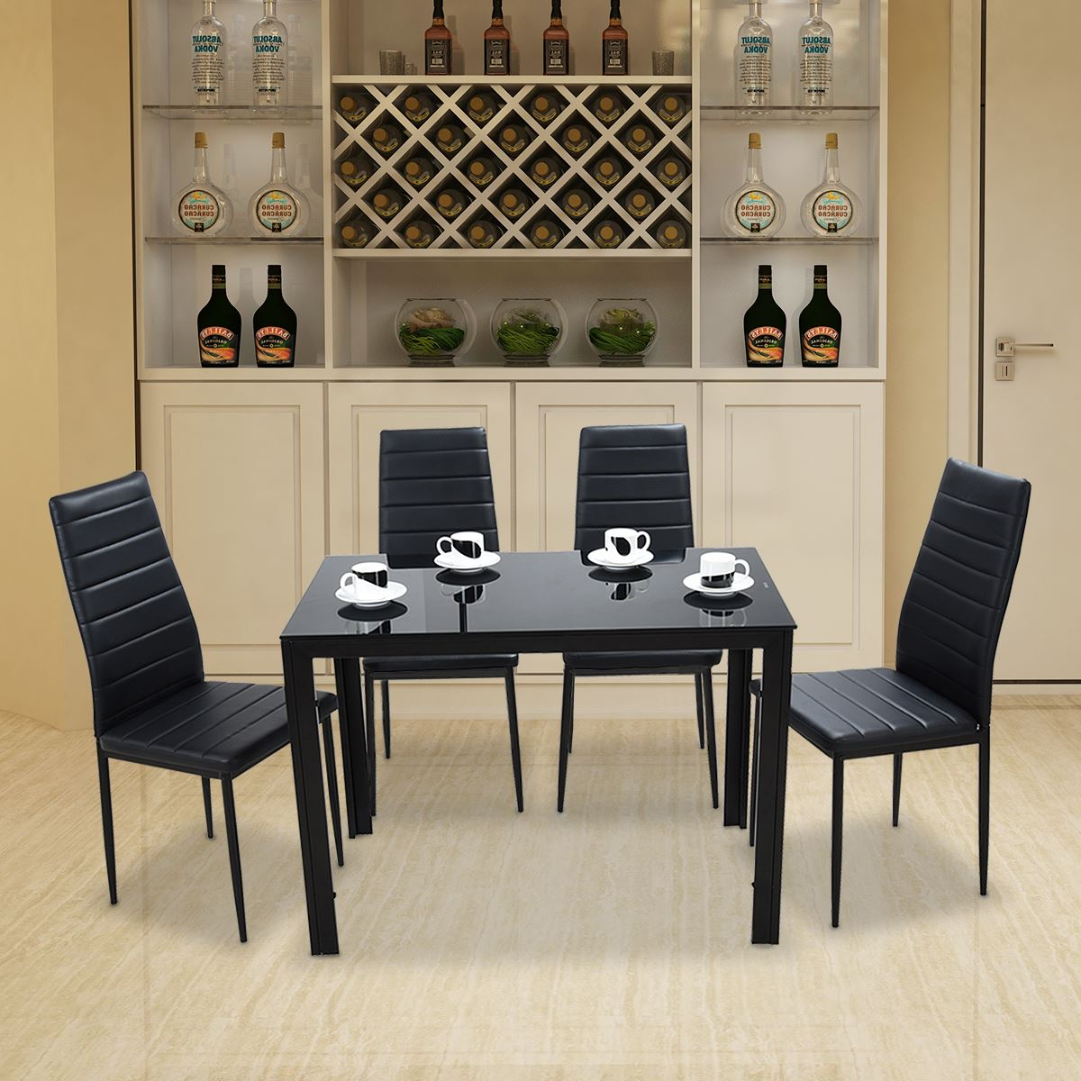 Admirable Panana Glass Dining Table Set With 4 6 Faux Leather Chairs Ibusinesslaw Wood Chair Design Ideas Ibusinesslaworg