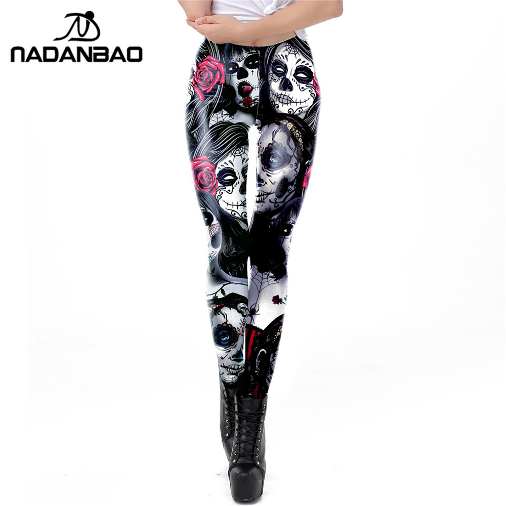 NADANBAO The Dead Girl Skull Horrible Scary Women Leggings Print Fitness Workout Legging High Waist Legins For Girl