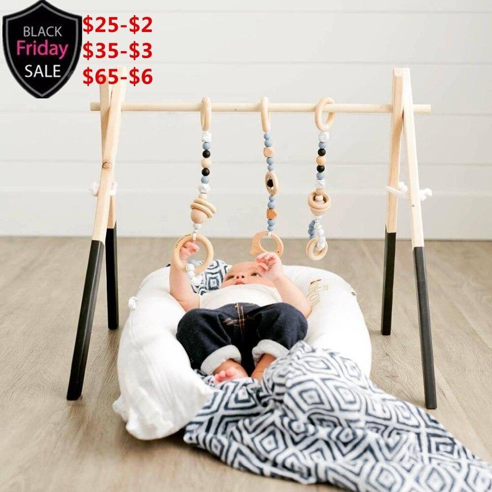Nordique En Bois Baby Gym Avec Accessoires & Play Gym Jouet Pépinière Décor Sensorielle Jouet Accessoires de Kid Room Decor Photographie accessoires