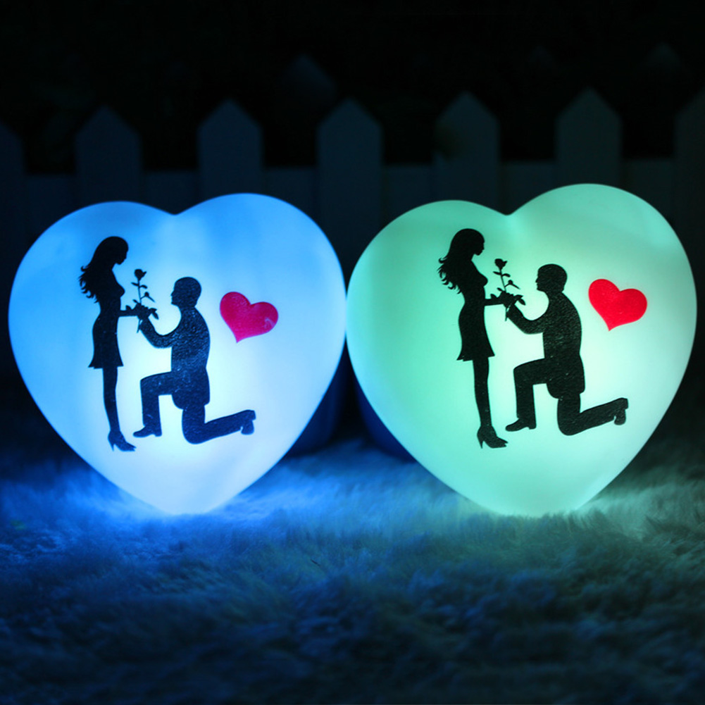 Image 2 - 1 Pcs LED Colorful Heart Shape Small Night Light Lover Propose Wedding Surprise Arranging Decor Props Valentines Day Gift-in LED Night Lights from Lights & Lighting