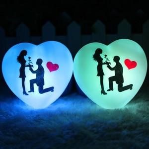Image 2 - 1 pçs led colorido coração forma pequena noite luz amante propor casamento surpresa organizando decoração adereços dia dos namorados presente