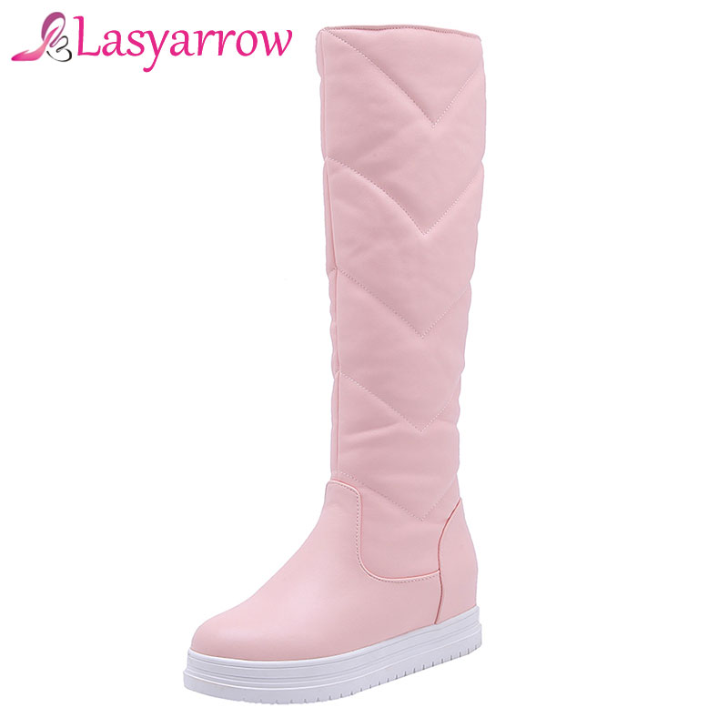 Lasyarrow Snow Boots Womens Round Toe Platform Heels Knee High Boots Fashion Slip On Sapatos Femininas Botas Mujer Black WhiteLasyarrow Snow Boots Womens Round Toe Platform Heels Knee High Boots Fashion Slip On Sapatos Femininas Botas Mujer Black White