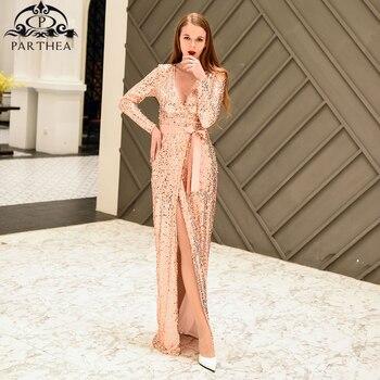5a1c7ac9aab9 Parthea Vestido largo de fiesta de lentejuelas de oro rosa elegante para  mujer Vestido largo de invierno Sexy vestido de Navidad con abertura ...