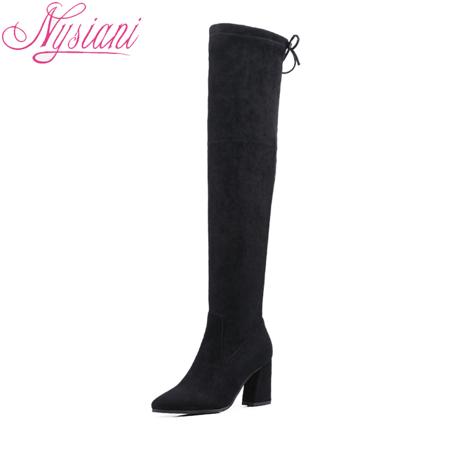 2018 Black Thigh High Long Sexy High Heels Boots For Women Back Lace Up Fashion Pointed Toe Over The Knee Boots Women Nysiani