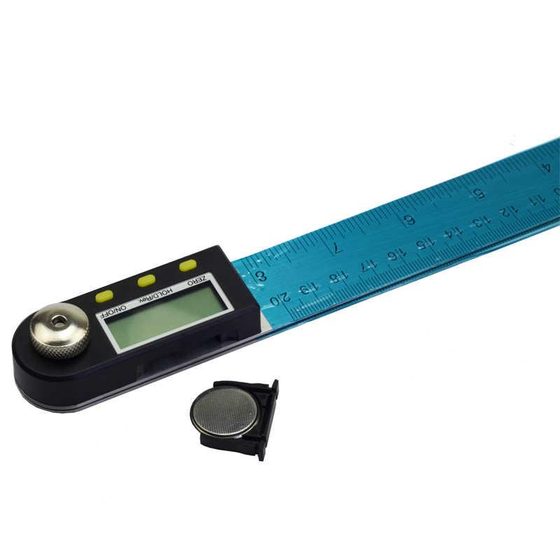"""200/300/500 Mm 12 """"Digital Sudut Penggaris Finder Meter Busur Derajat Inclinometer Goniometer Elektronik Sudut Gauge Stainless baja"""