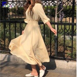 Image 3 - Frauen V Neck Sommer Kleider Chiffon Flare Hülse Dünne Taille EINE Linie Koreanische Stil Kleidung Design Taste Hemd Kleid Lila gelb