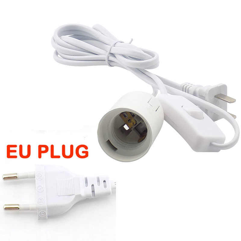 E27 Power Cord Cable AC 110v  220v lamp Light Base Holder EU US UK Converters Socket switch wire for led Lamp Bulb eclectic
