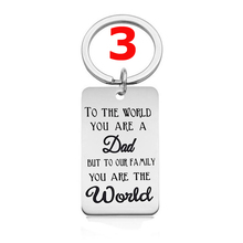 Stainless Steel Key Chain Key Ring To the World You are a DAD But to Our Family Are The World Pendant Jewelry Fathers Day Gifts