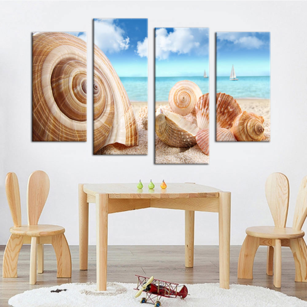 Us 723 31 Offquadruple Painting Hd Landscape Seaside Pictures Painting Diy Wall Art Paintings Home Decor For Living Room Frameles In Painting