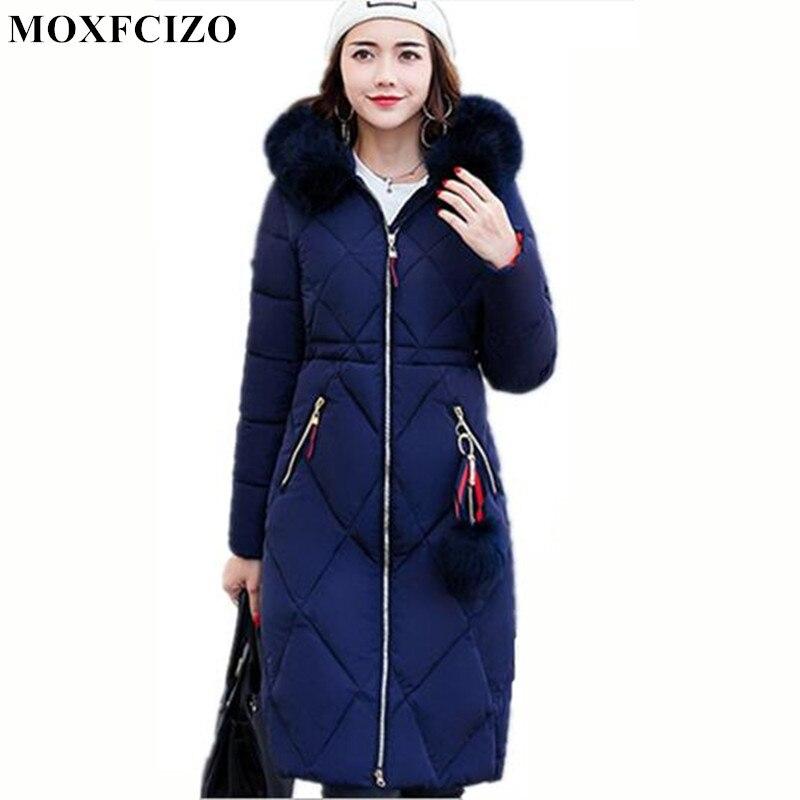 Winter Jacket Women Hooded Coat Fur Collar Thicken Warm Long Jackets women's coat girls long slim big fur coat jacket Down   Parka