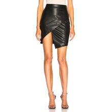 b098a0bd5aa1ac Vrouwen Lederen Bodycon Kokerrok Stretch Hoge Taille Strakke Zwarte  Elegante Hoge split Rok Clubwear Korte Mini Rokken