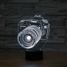 Decorative Lighting Effect Lamp 3D Led camera 7 Colors Change Night Light Touch Button Creative Design цена