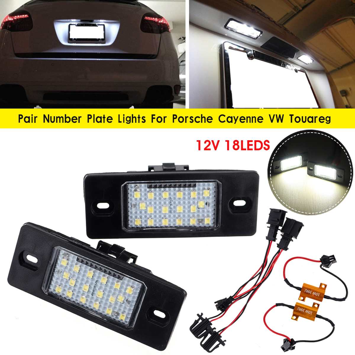FOR PORSCHE CAYENNE 2002-2010 18 LED NUMBER PLATE LIGHT LAMP PAIR