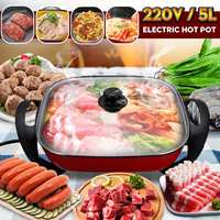 Multifunctional 1400W 5L Electric Non Stick Hot Pot Shabu Frying Cooker Cookware 220V Self service Hotpot Cooking Winter Party