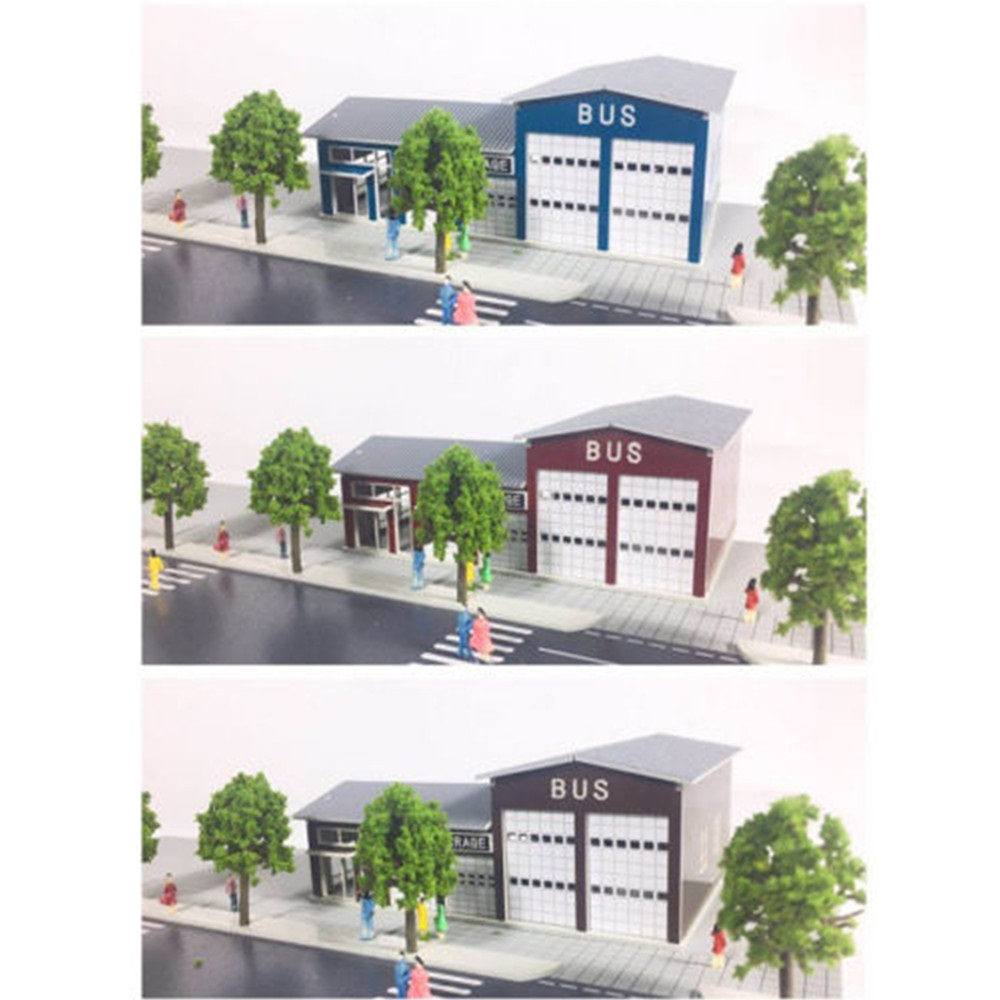 New Bus Repair Garage Building Model 1:160 N Scale Scene Layout Bus Repair Shop Outland Model