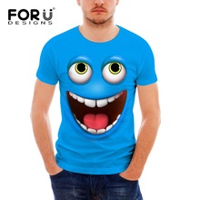 FORUDESIGNS Funny Summer T Shirts for Men Fashion 2019 Emoji Smiley Short Sleeves Hipster Male T-shirt O-neck Tee Plus Size XXL
