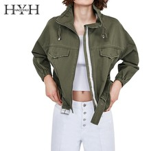 HYH HAOYIHUI  Leisure Time Simplicity Fold Boyfriend Wind Jacket Army Green Work Clothes Loose Coat New Arrival