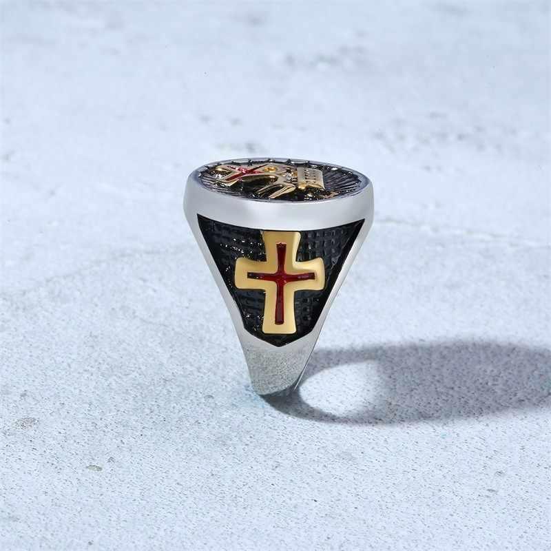 גברים של כסף ושחור חרב אבירי טמפלרים צלב כתר יורק טכס חותם טבעת נירוסטה תכשיטים