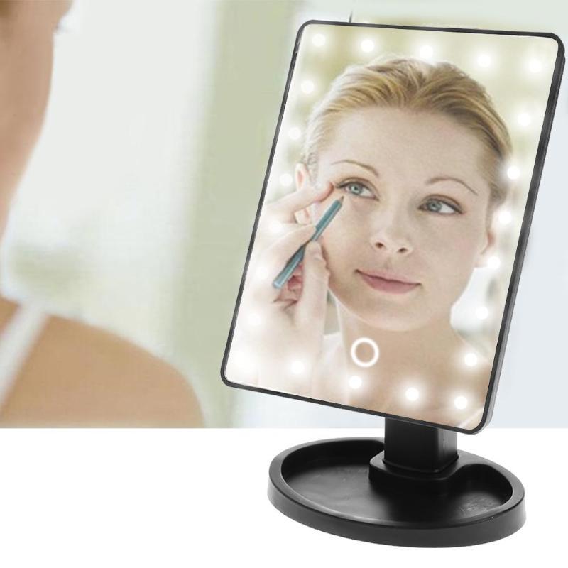 Honig Pro 16/22 Lampen Make-up Spiegel Led Touchscreen Make-up Spiegel Usb Lade 180 Grad Drehbaren Platz Eitelkeit Spiegel Werkzeuge Modernes Design Spiegel