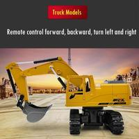 2.4G 1/24 Simulation RC Excavator Toy With Music Light Children RC Truck Models Birthday Gifts Dropshipping