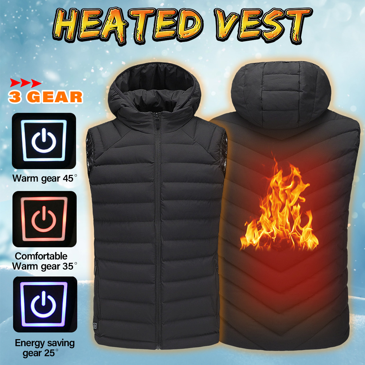 Safurance Mens Safety Vest Winter Heated Vest USB Hooded Work Jacket Adjustable Temperature Control Safety Work Clothes mens winter heated usb charge hooded work jacket coats vest adjustable temperature control safety clothing