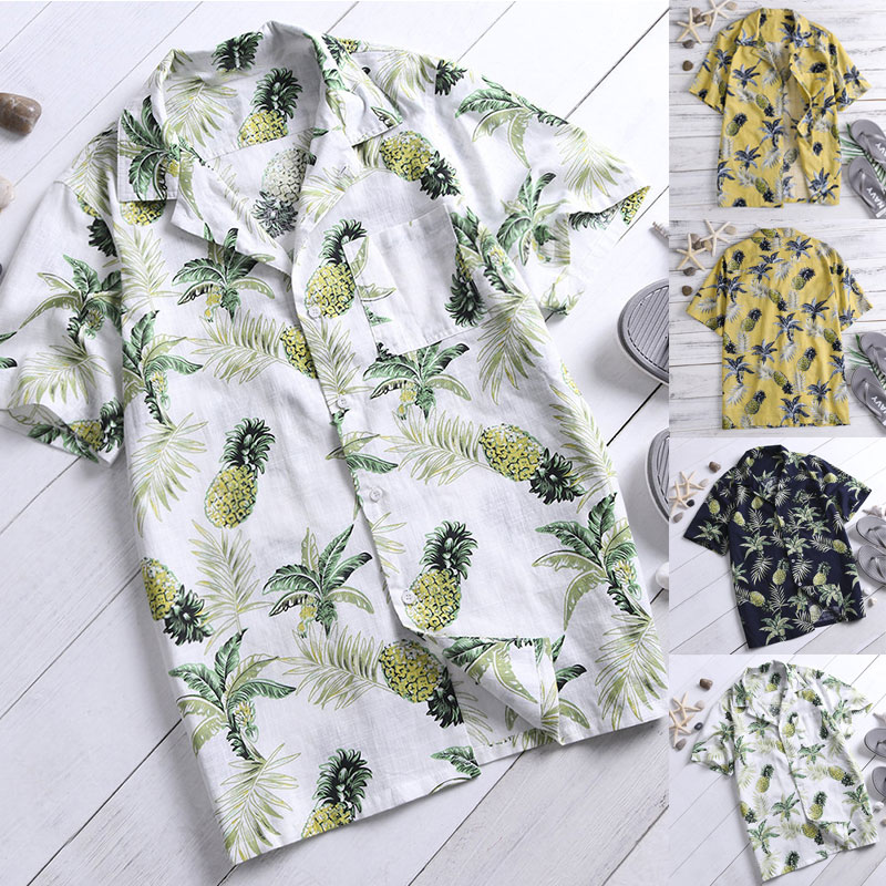 INCERUN Summer Print Beach Hawaiian Shirt Men Short Sleeve Pockets Tops Men Casual Shirts Camisa Masculina Streetwear Plus Size